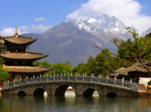 Black Dragon Pool and Jade Dragon Snow mountain (Yulongxui Shan) in Lijiang, Yunnan province of China
